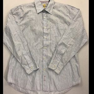 7 For All Mankind Blue Striped Button Down